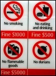 Запрещающие знаки в Сингапуре