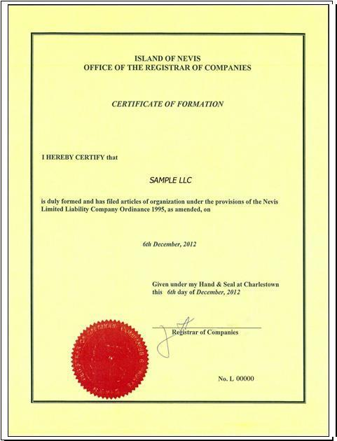 Certificate of Formation