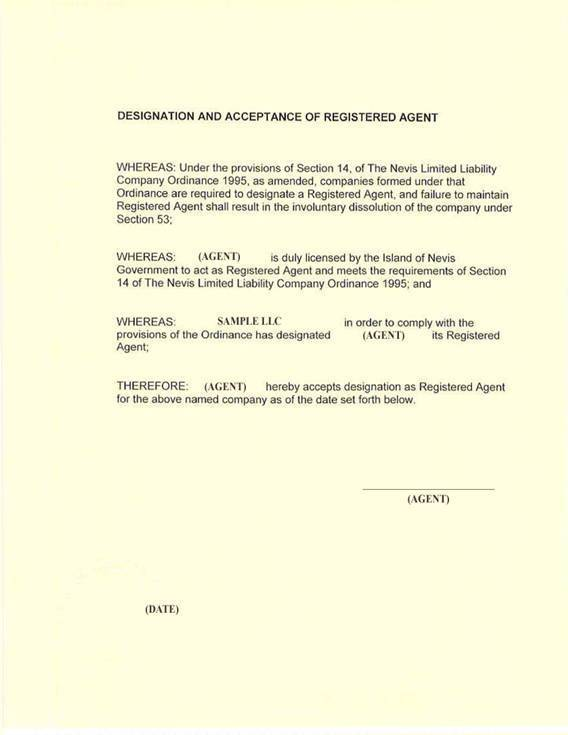Designation and Acceptance of Registered Agent