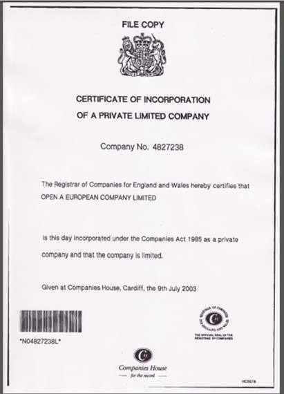 Сертификат инкорпорации