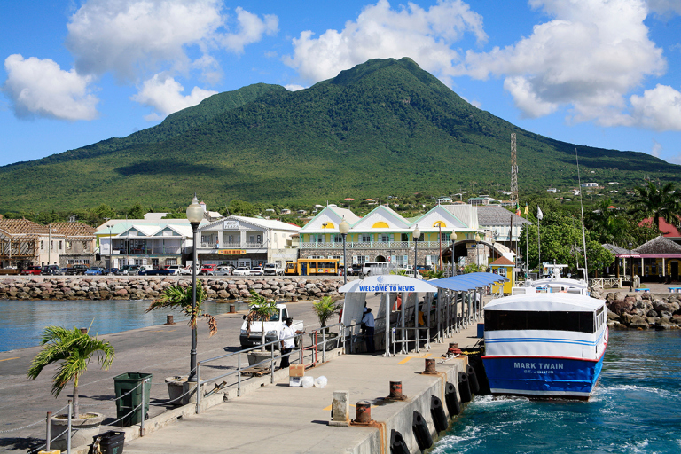 Harbour and Town of Charlestown at Nevis in the Caribbean