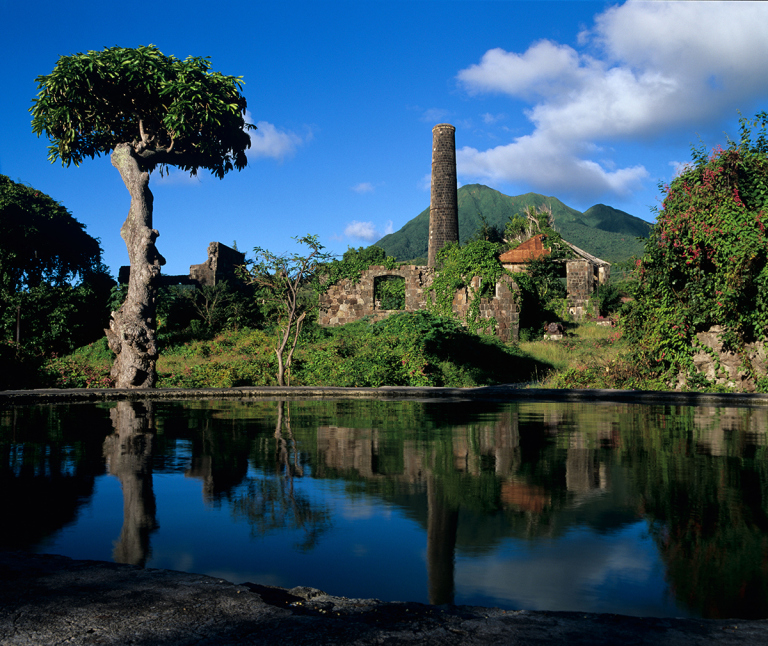 New River sugar mill ruins on the Island of Nevis in the Caribbean