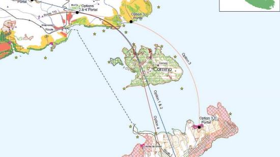 Возможные маршруты прокладки тоннелей