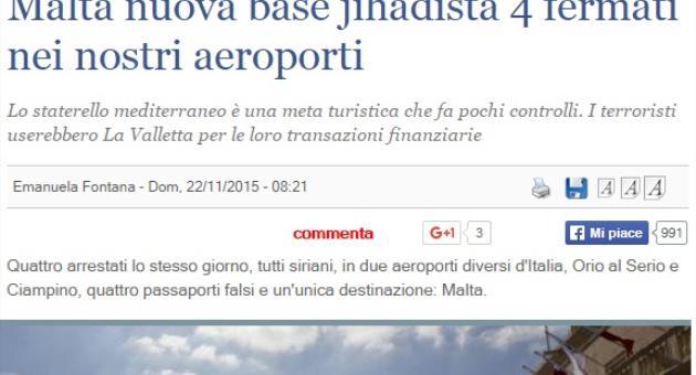 Итальянская газета назвала Мальту базой джихадистов