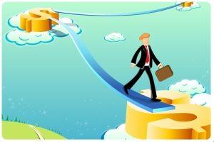 illustration of business man on dollar way