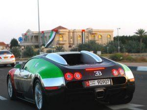 Bugatti Veyron with UAE Flag Wrap