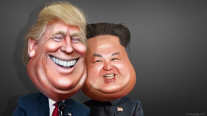 шарж Дональда Трампа и Ким Чен Ына