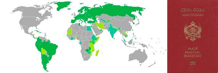 безвизовые страны для черногорцев