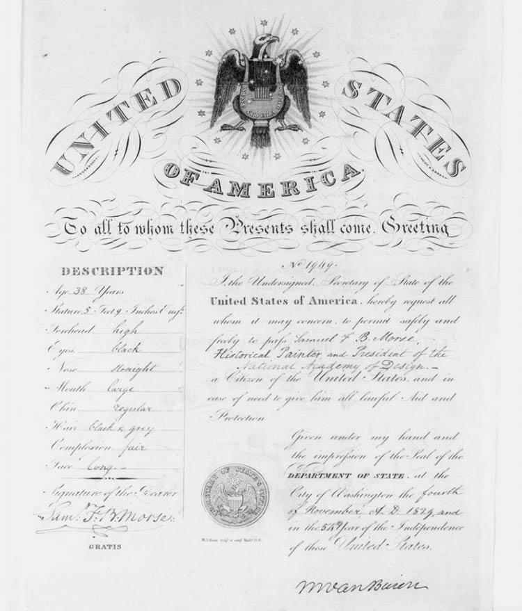 паспорт США 1832 года