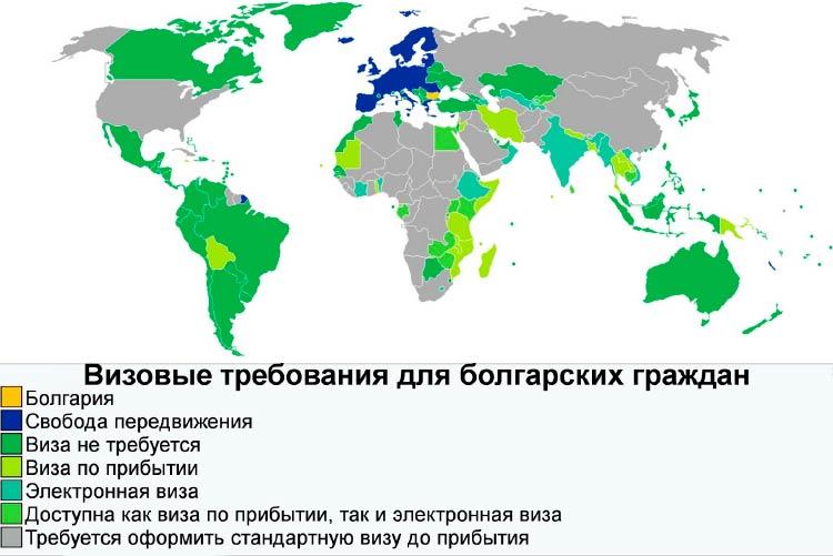 Безвизовые страны для Болгарии