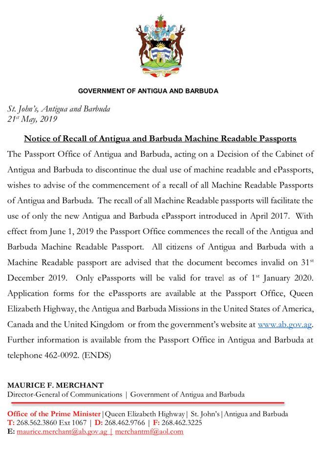 паспорта Антигуа и Барбуды