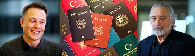 Илон Маск и Роберт Де Ниро получили по несколько паспортов