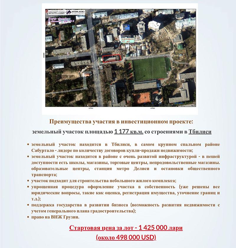 инвестиционный проект в Тбилиси
