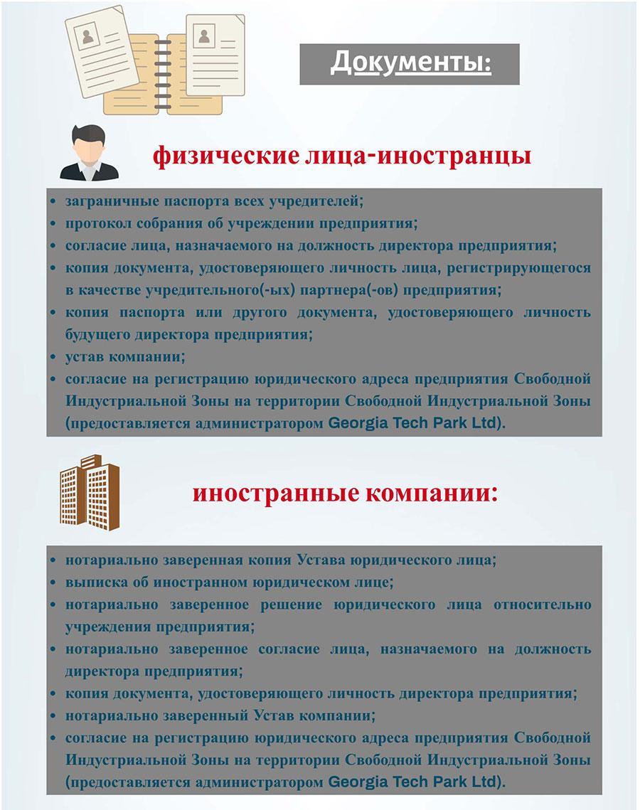 Документы для регистрации компании в СИЗ Тбилиси