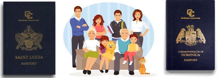 Гражданство Сент-Люсии и Доминики для семей