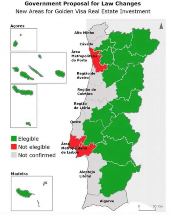 Areas of Portugal for an Investment Visa