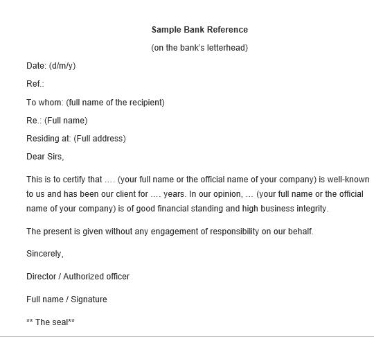 Sample Bank Reference