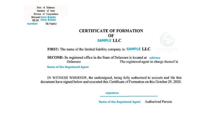 Cертификат об образовании компании Delaware LLC